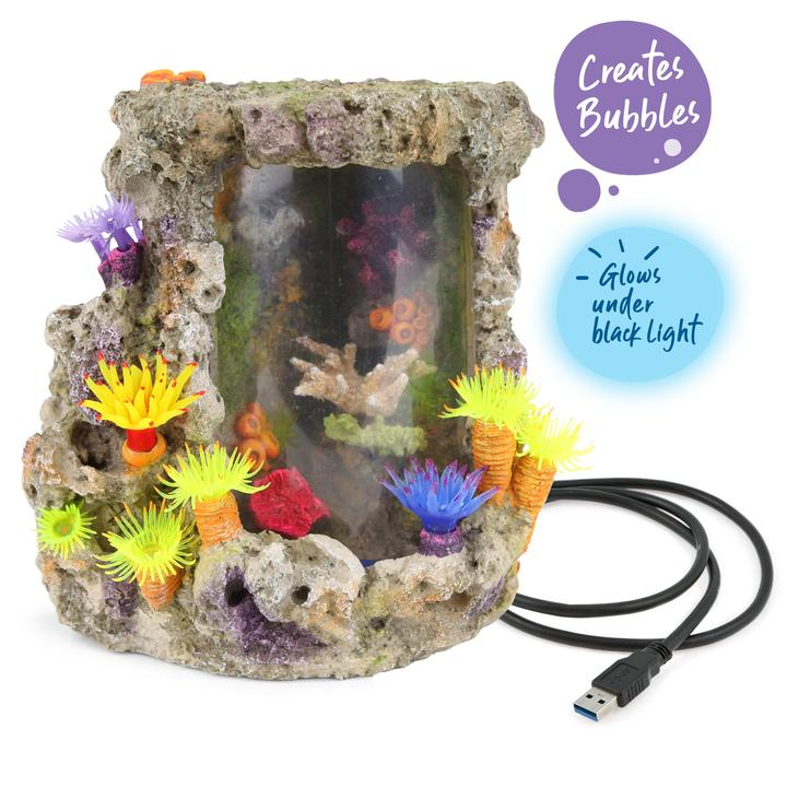 Bubbling LED Coral Centrepiece With Plants