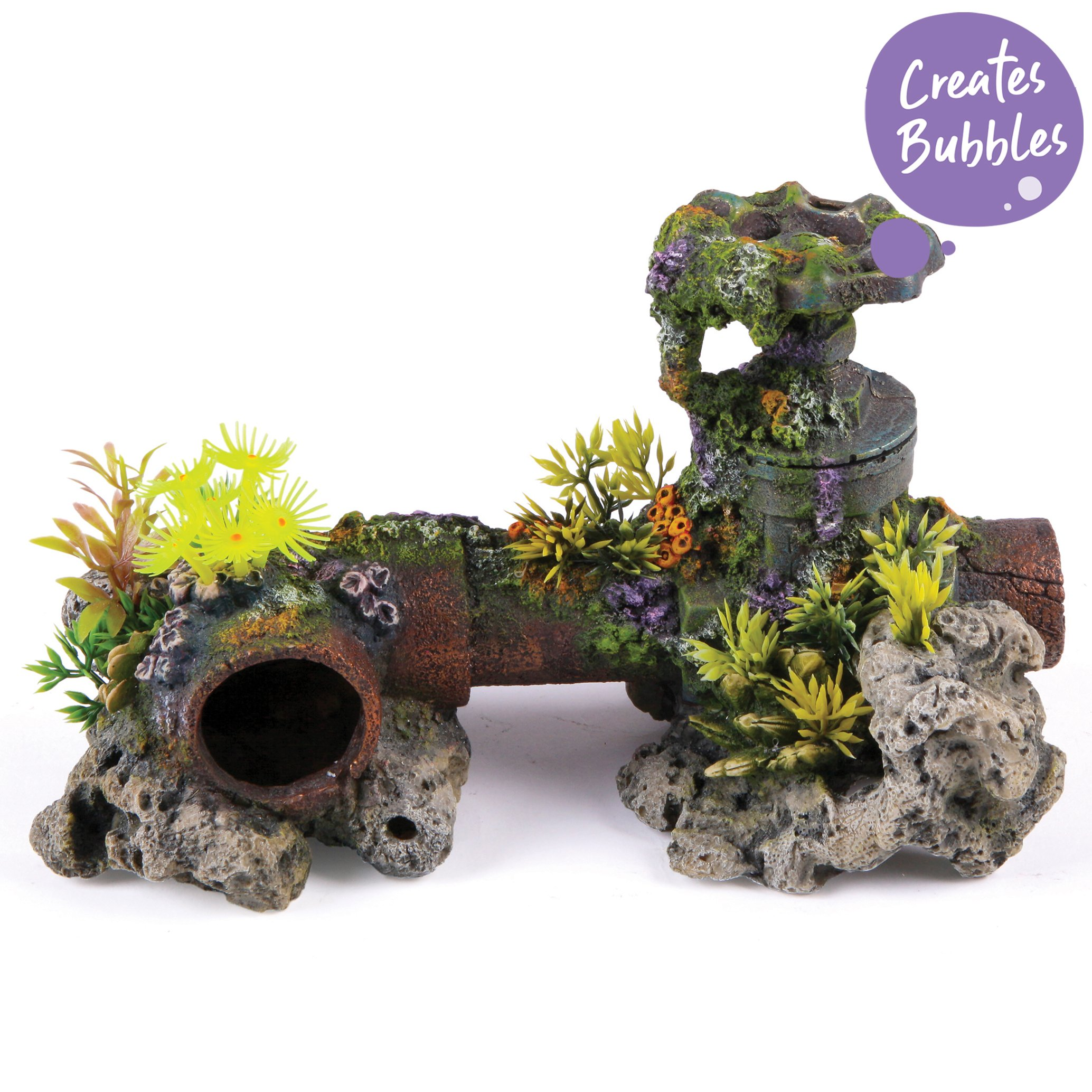 Bubbling Pipe With Coral Plants – Large