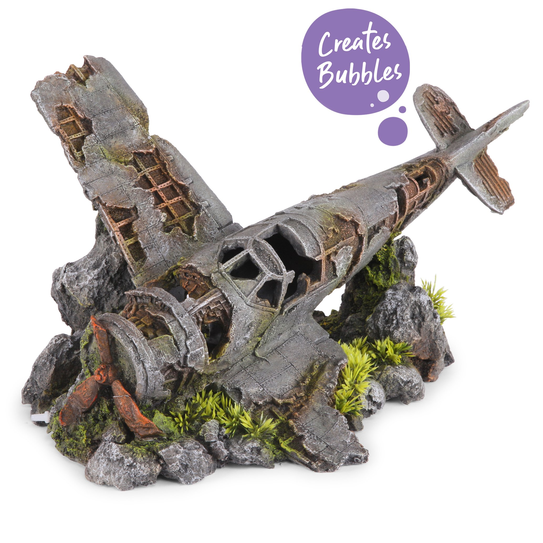Bubbling Crashed Plane With Plants – X Large
